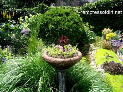 Cracked bird bath recycled as a planter