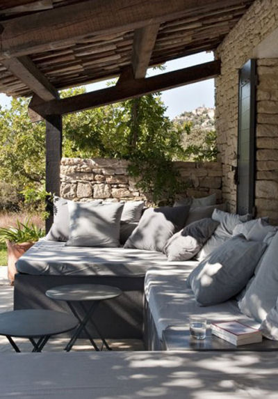 Comfortable patio setting with big cushions