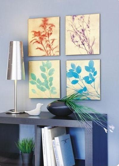 Spray paint DIY leaf art