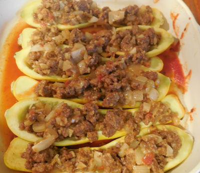 beef mixture in cooked squash boats.