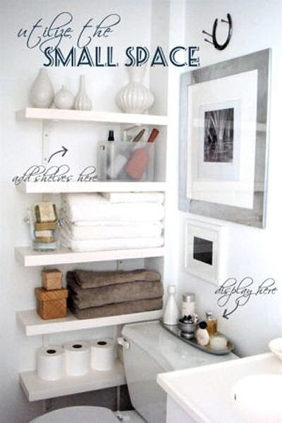 Narrow Shelving makes great use of this tiny bathroom space