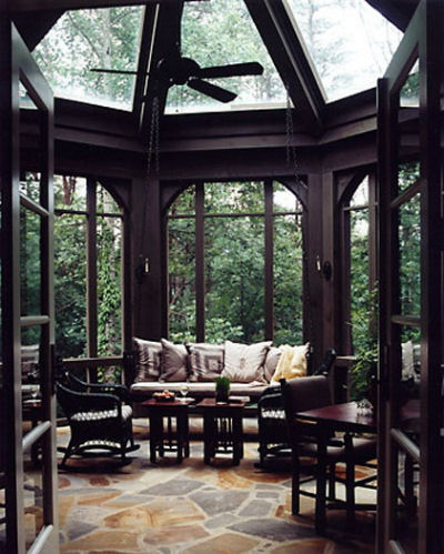 I love the slate floor, domed ceiling and tons of windows. It brings the outdoor inside.