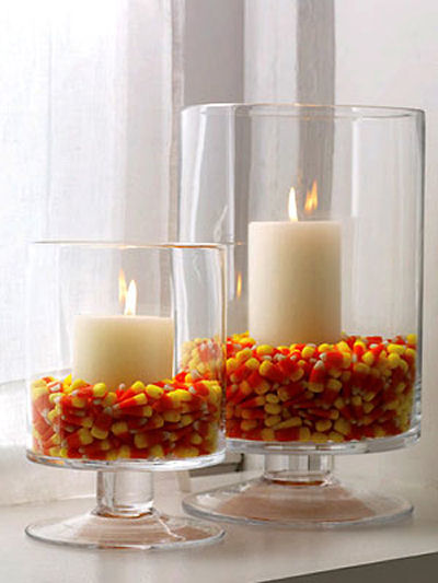 Candy Corn Hurricane Candle DIY