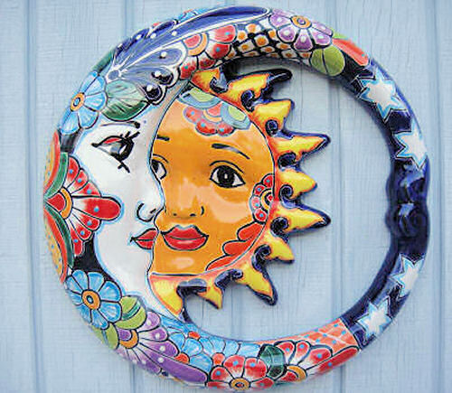 Mexican hand painted pottery garden face