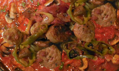 peppers and sausages in sauce