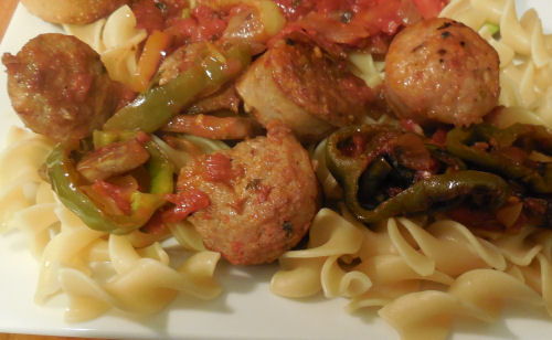 Italian sausages and pepper