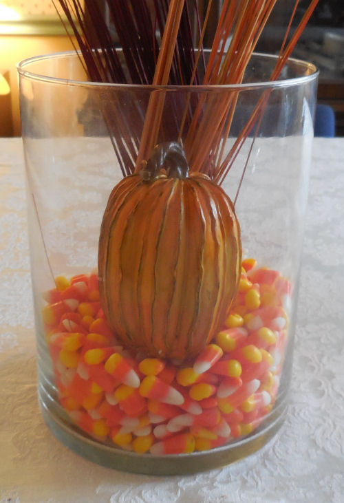 candy corn and pumpkin layer