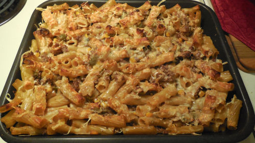 Mexican casserole with chili peppers and cheese