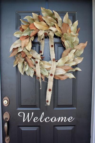 DIY Magnolia Leaf Autumn Wreath