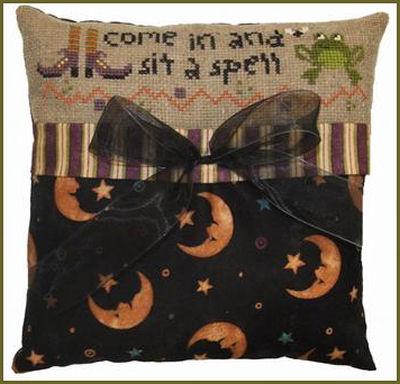 Halloween cross stitch pillow