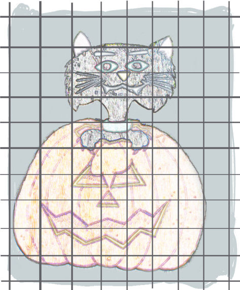 grid over cat and pumpkin