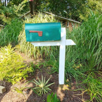 Green mailbox on a white post in a garden setting.