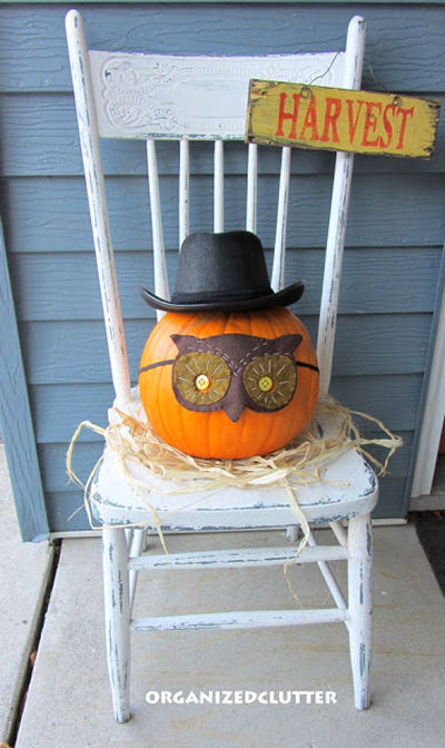 Mr Pumpkin gets a mask and top hat for Halloween