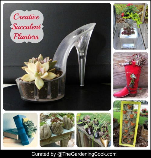 Great round up of creative succulent planters