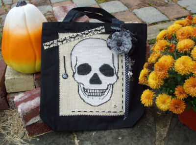 Skull cross stitch tote bag
