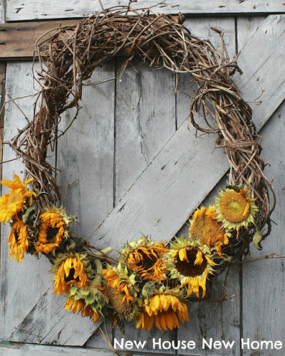 Grapevine and sunflower wreath