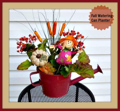 Scarecrow Watering Can Fall Planter
