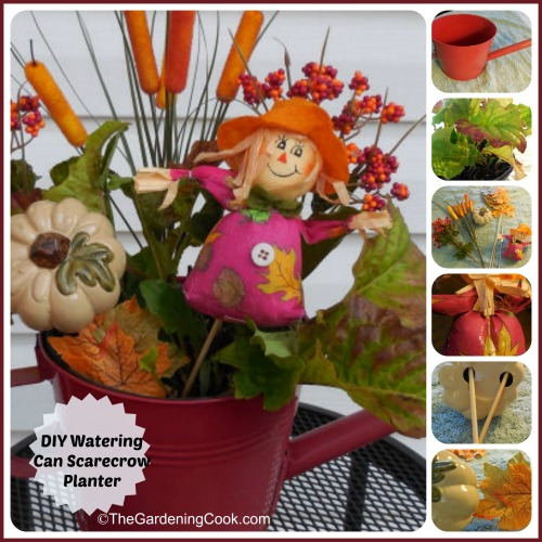 DIY Scarecrow Watering Can Planter
