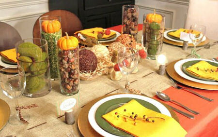 Rustic Thanksgiving Tablescape with Acorns, split peas and pumpkins