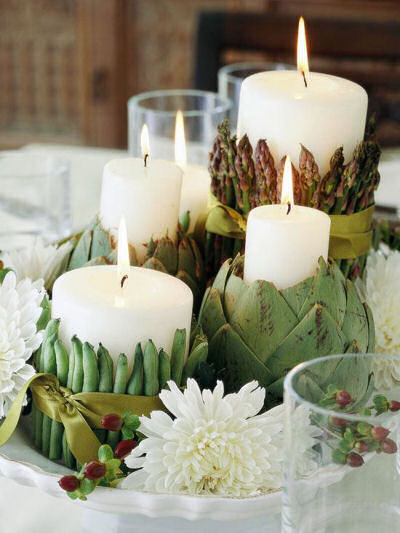 Thanksgiving Tablescape using vegetables as candle holders