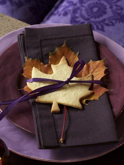 Maple Leaf, sugar cookie, ribbon and napkin. Love the color combo!