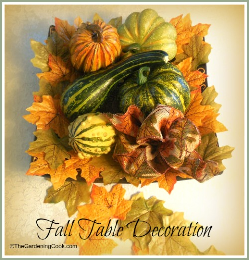 Fall Table Decorationj with Gourds.