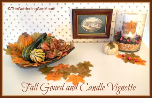 Fall Gourd and Candle Vignette