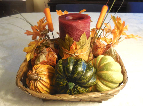 Finished autumn candle holder basket
