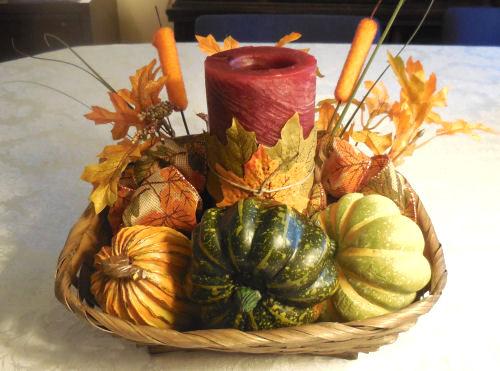 Finished autumn candle holder basket