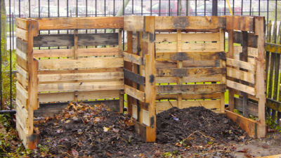 Two part composting bin made from pallets