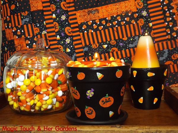 Halloween Candle holder with candy corn