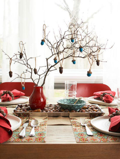DIY Acorn Tree made from painted acorns attached to rustic branches