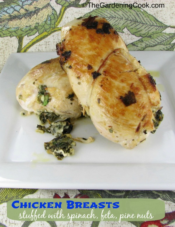 Chicken Breasts stuffed with Spinach, Feta Cheese and Pine Nuts