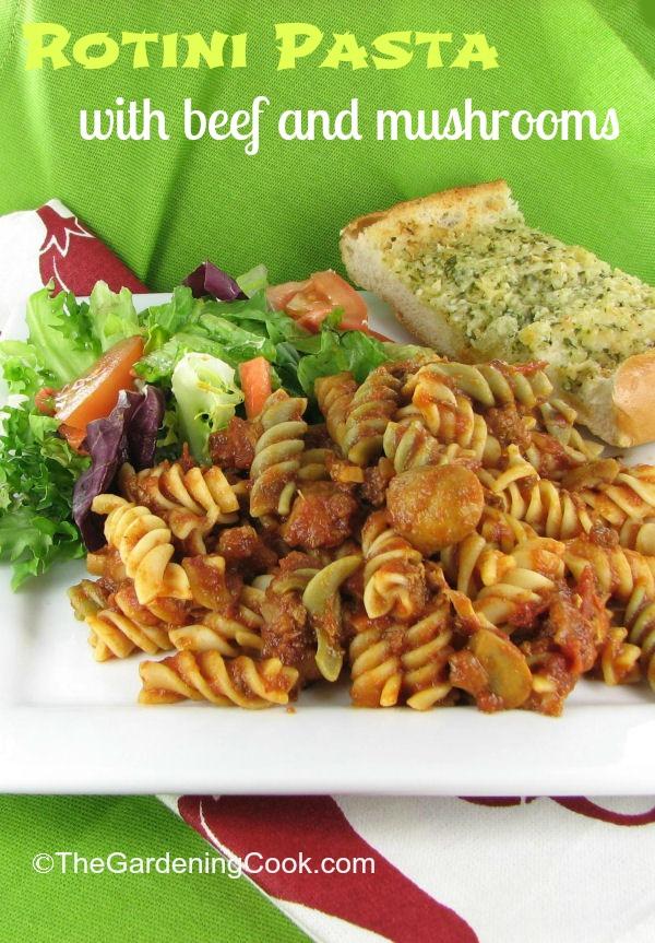Rotini Pasta & Beef Sauce with Mushrooms
