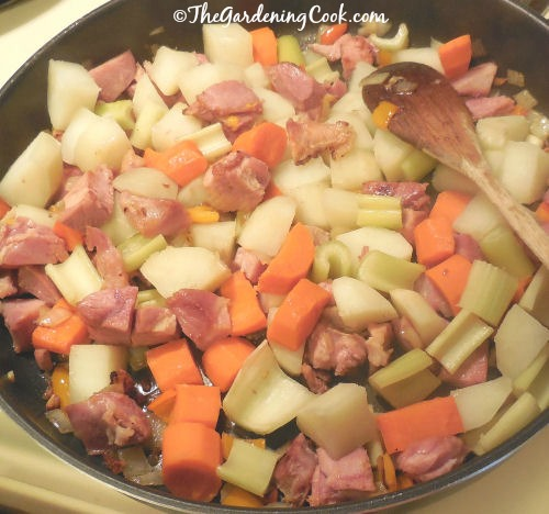 Casserole made with vegetables and left over ham in a creamy cheese sauce.