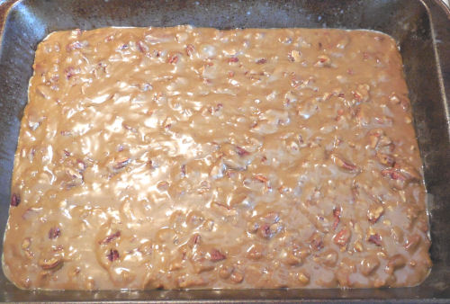 Caramel pecan bars ready to cook.