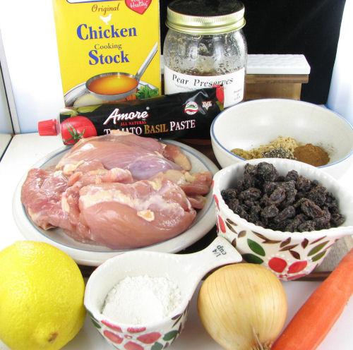 ingredients for chicken tagine