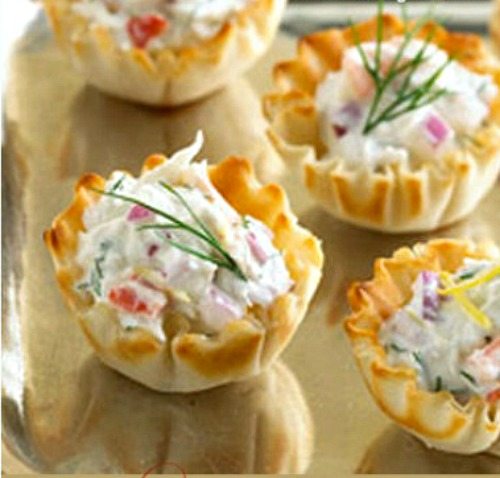 Easy crab appetizers cooked in phyllo shells