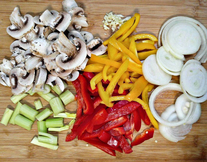 Colorful vegetables for my Italian sausage casserole