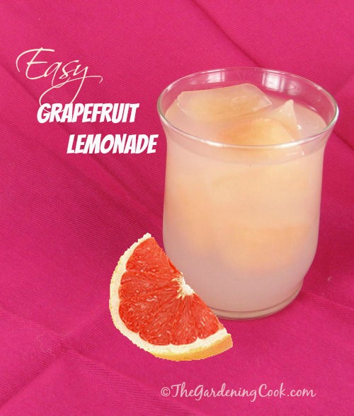 Easy Grapefruit Lemonade - great way to use grapefruit ice cubes