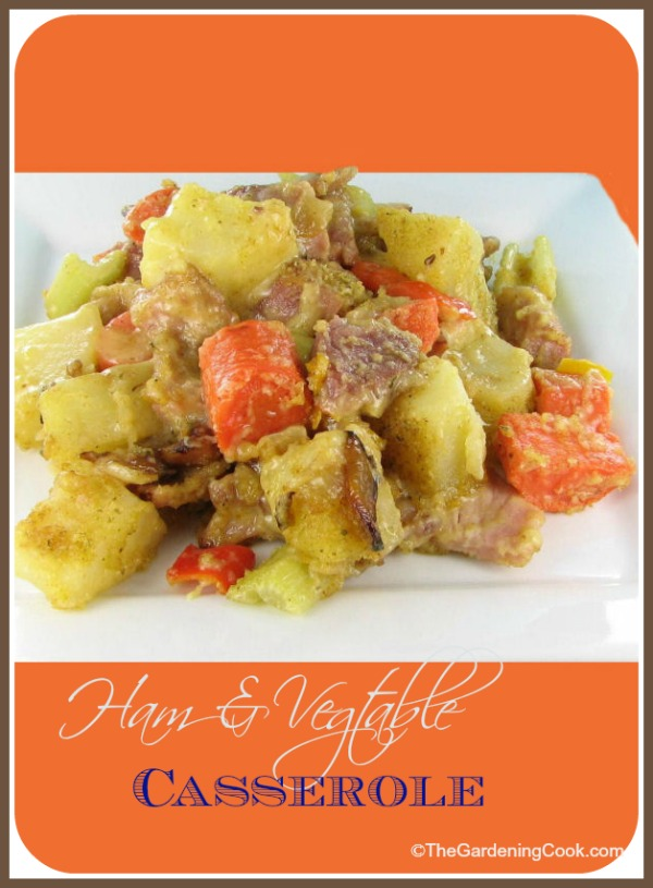 Casserole with vegetables and left over ham.