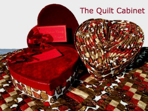 No calorie quilt in heart shaped boxes.