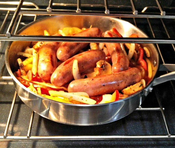 Sausage and peppers in the oven