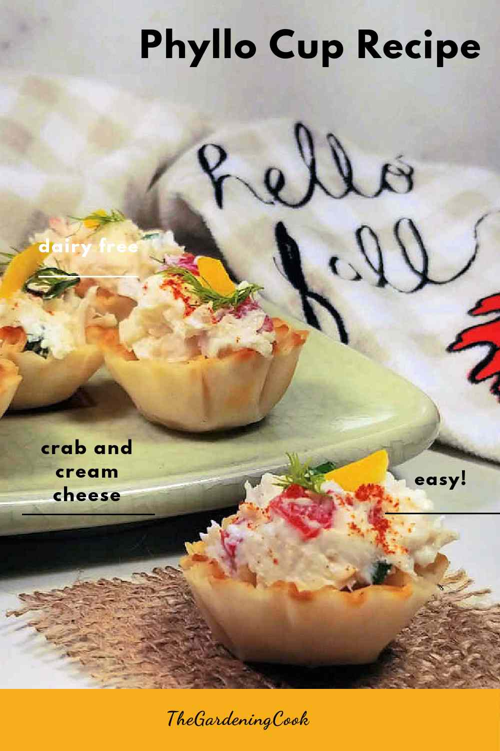 Crab appetizers on a plate with words Phyllo cup recipe.