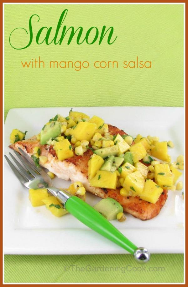 Salmon with corn, mango and avocado salsa