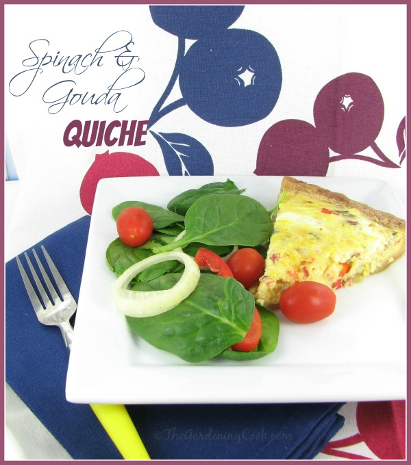 Spinach, Gouda and Onion Quiche - comfort food for breakfast.