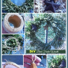 DIY Bird Feeder Wreath. Repurpose and old Christmas wreath to feed the birds!