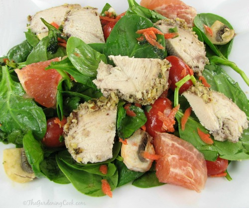 Spinach and Grapefruit Salad with Pecan Crusted Chicken and Grapefruit