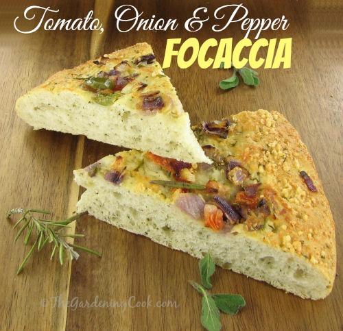 Tomato Onion And Pepper Focaccia Bread