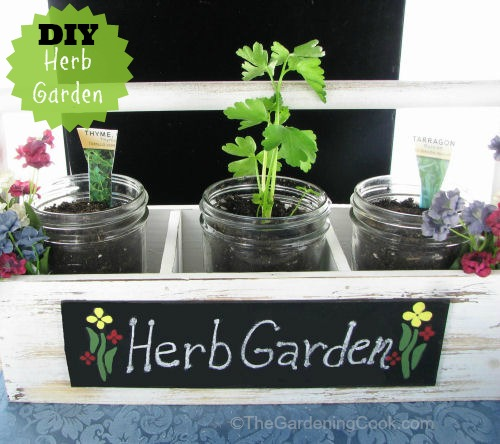 DIY Mason Jar Herb Garden in a Farmer's Market tray #EarthDayProjects